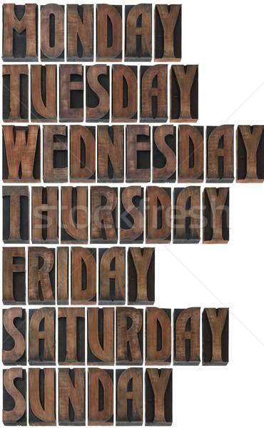 Hafta baskı bloklar yalıtılmış beyaz Stok fotoğraf © Suljo