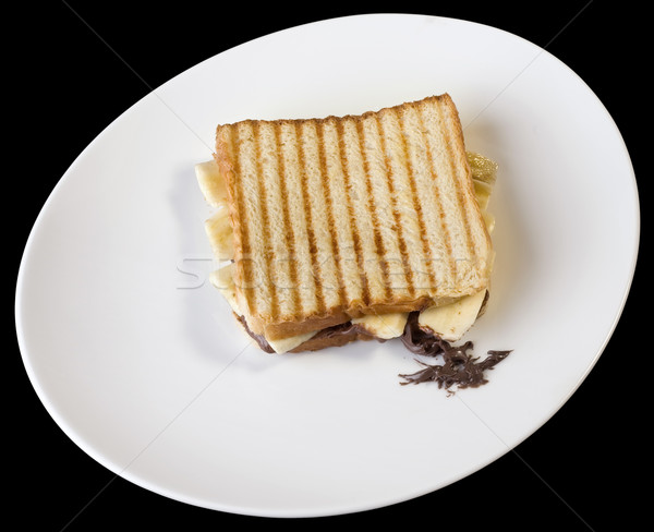 焼いた チーズ サンドイッチ 白 プレート 孤立した ストックフォト © Suljo