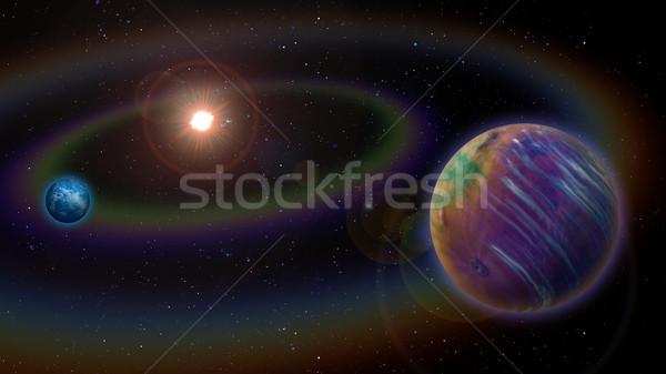 Alienígena sistema solar dois planeta globo sol Foto stock © Suljo