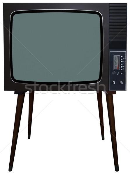 Retro tv edad vintage blanco televisión Foto stock © Suljo