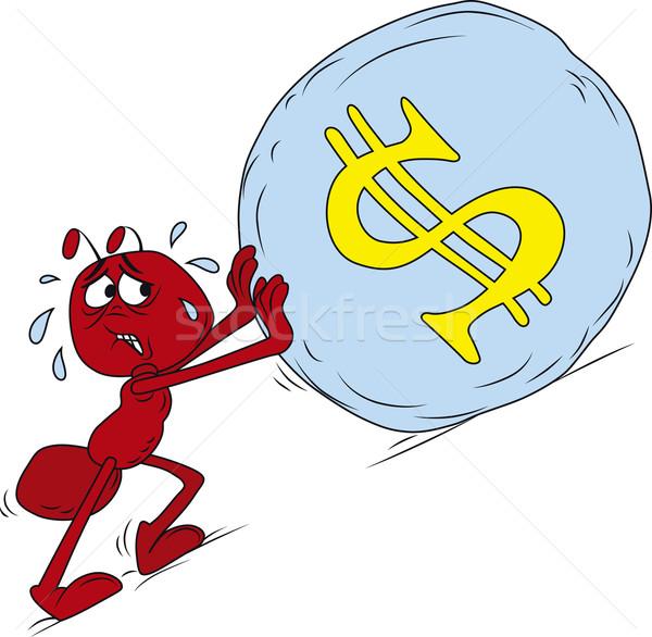 Sisyphus red ant Stock photo © Suljo