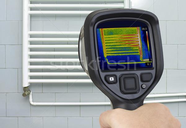 Radiator infrarood afbeelding centraal verwarming Stockfoto © Suljo