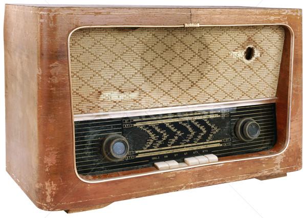 Fából készült rádió kivágás öreg idejétmúlt retro Stock fotó © Suljo