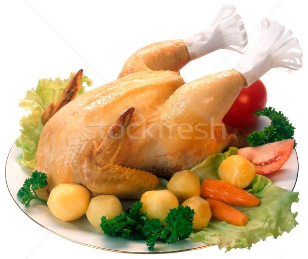 куриные служивший гарнир пластина изолированный Сток-фото © Suljo