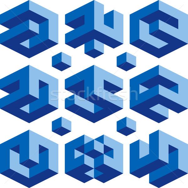 Логотипы синий куб вектора признаков строительство Сток-фото © Suljo
