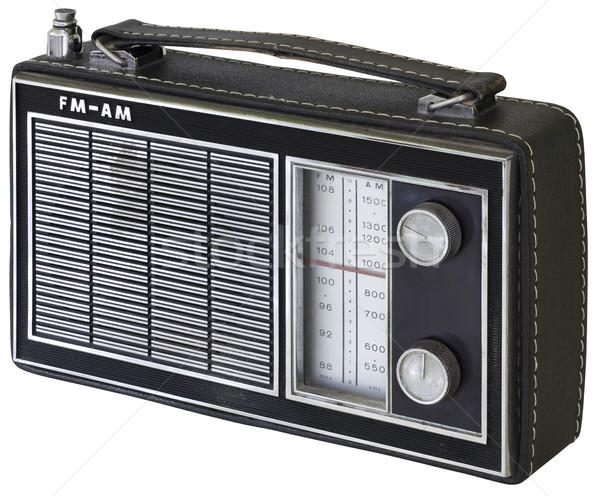 Oude zwarte kant radio plastic Stockfoto © Suljo