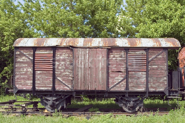 öreg vagon rozsdás vonat útvonal gőz Stock fotó © Suljo
