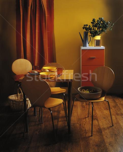 комнату столовая стены дизайна Председатель мебель Сток-фото © Suljo