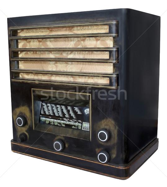Stockfoto: Oude · radio · vintage · geïsoleerd · witte · muziek
