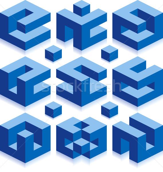 Logos cube vecteur signes construction affaires Photo stock © Suljo