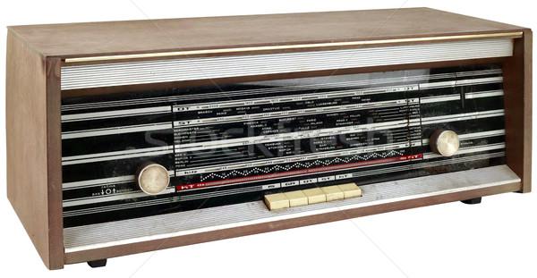 Fából készült rádió apparátus kivágás öreg klasszikus Stock fotó © Suljo