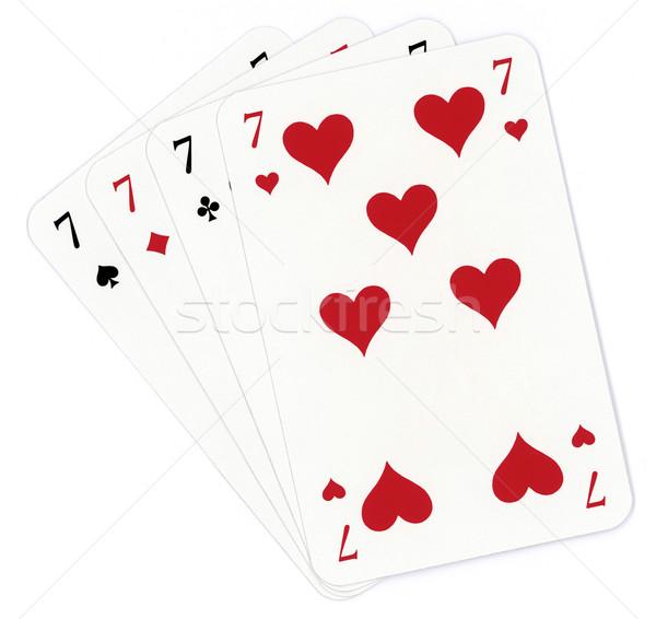 Póker hét papír szív klub jókedv Stock fotó © Suljo