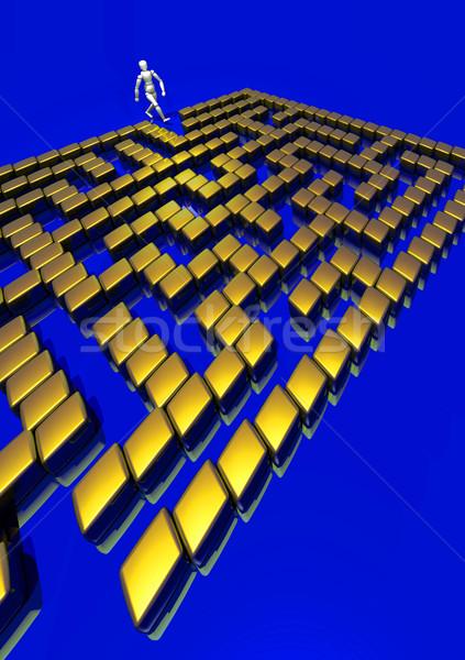 3D doolhof vinden manier uit gouden Stockfoto © Suljo