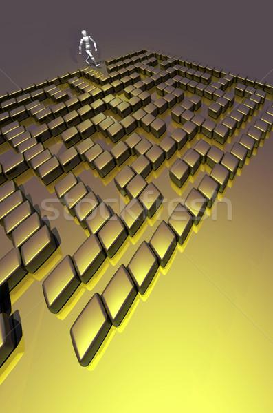 3D doolhof vinden manier uit krant Stockfoto © Suljo
