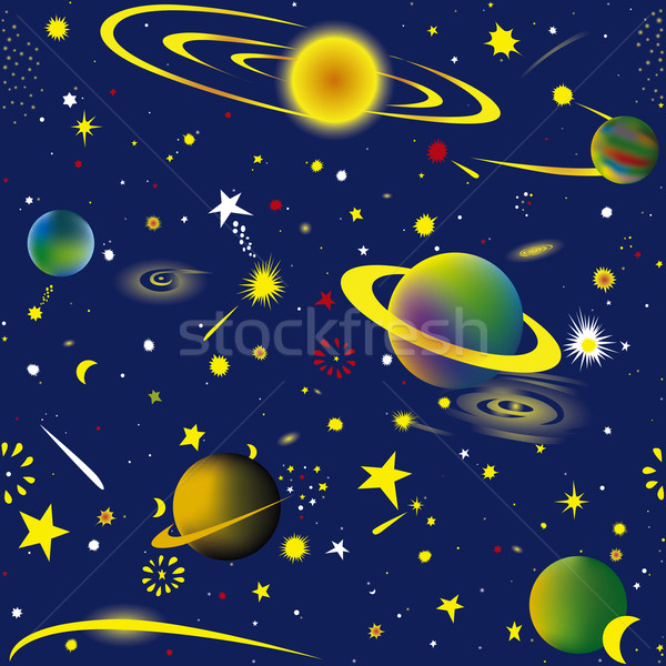 Espaço sem costura fantasia cósmico céu papel de parede Foto stock © Suljo