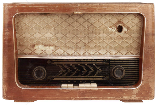 Old Wooden Radio Cutout Stock photo © Suljo
