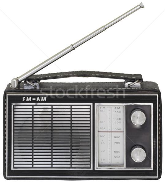 öreg hordozható rádió kivágás fekete retro Stock fotó © Suljo