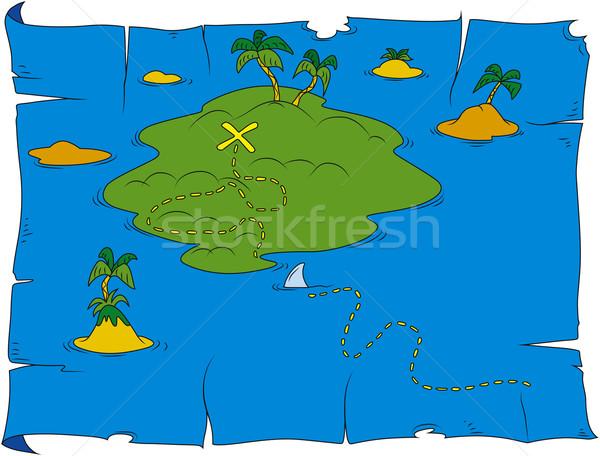 Treasure harita karikatür örnek çerçeve sanat okyanus Stok fotoğraf © Suljo