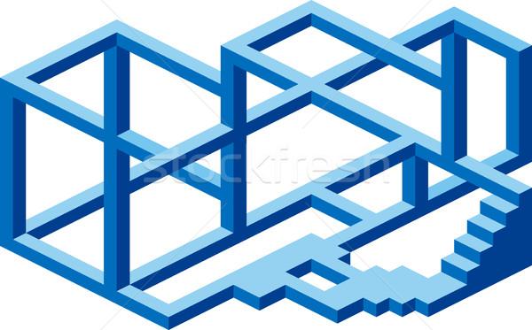 Budowy bałagan niemożliwy złudzenie optyczne streszczenie zamieszanie Zdjęcia stock © Suljo