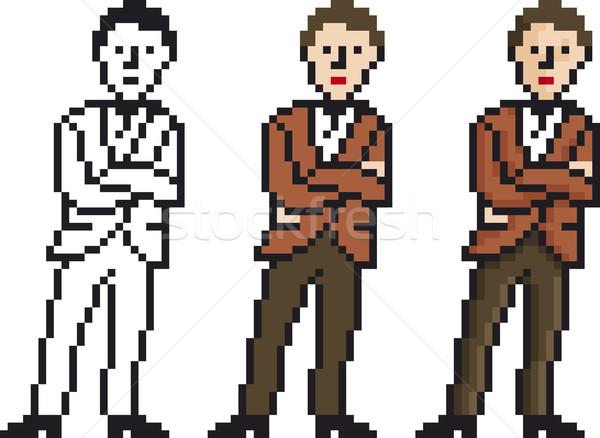 Pixel uomo illustrazione imprenditore uomini retro Foto d'archivio © Suljo