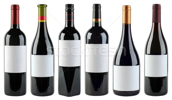Stockfoto: Wijn · flessen · sjabloon · geïsoleerd · drinken