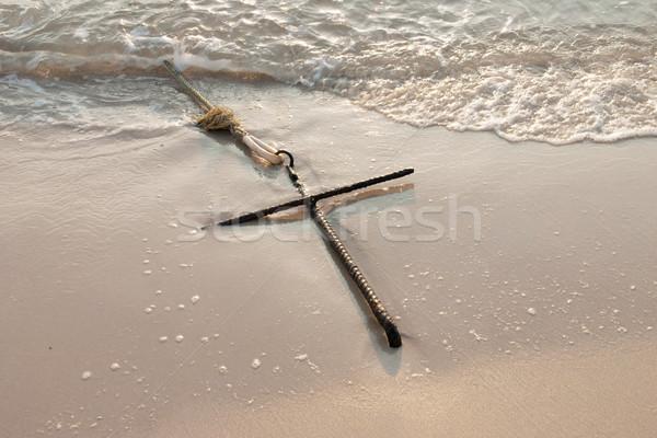 çapa kum plaj deniz Stok fotoğraf © sundaemorning