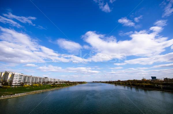 Nehir mavi gökyüzü Viyana Avusturya manzara Stok fotoğraf © sundaemorning