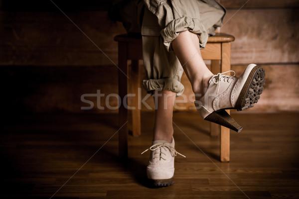 Güzel kadın bacaklar yüksek topuklu güzel bir kadın oturma Stok fotoğraf © superelaks