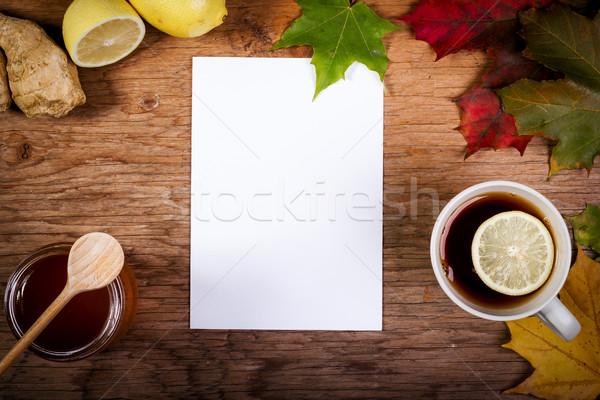 Kâğıt çay bal tablo sonbahar yaprakları boş kağıt Stok fotoğraf © superelaks