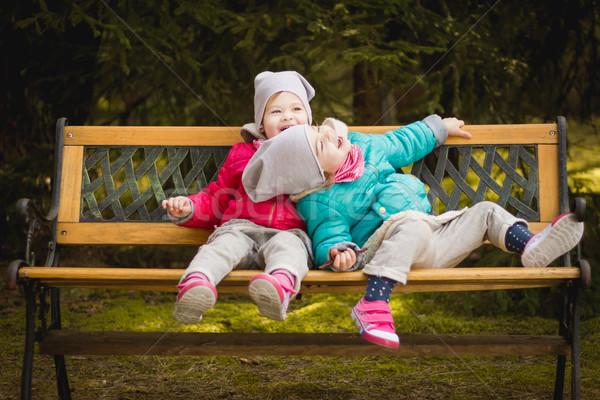Mutlu kızlar bank orman iki ahşap Stok fotoğraf © superelaks