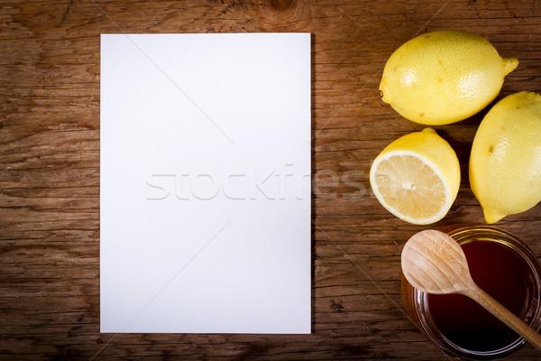 Limon bal kâğıt ahşap masa taze Eski kağıt Stok fotoğraf © superelaks
