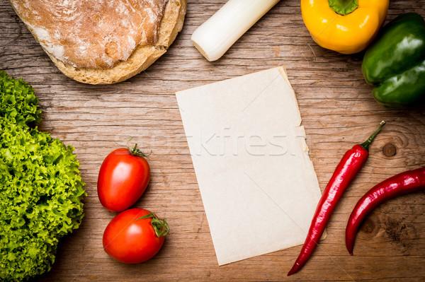 Temizlemek levha kâğıt pişirme yemek tarifleri sebze Stok fotoğraf © superelaks