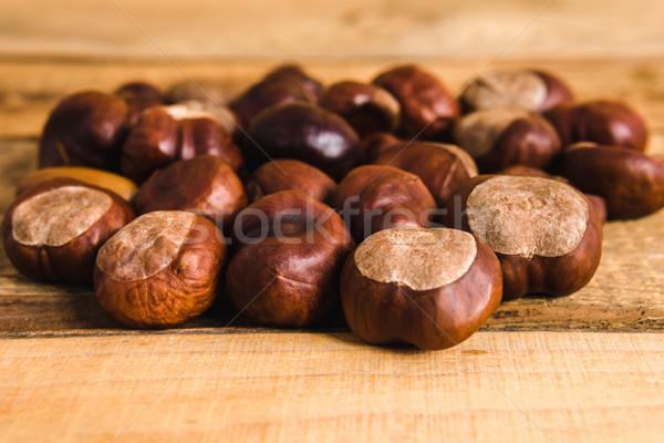Sonbahar ahşap masa kahverengi eski ağaç ahşap Stok fotoğraf © superelaks