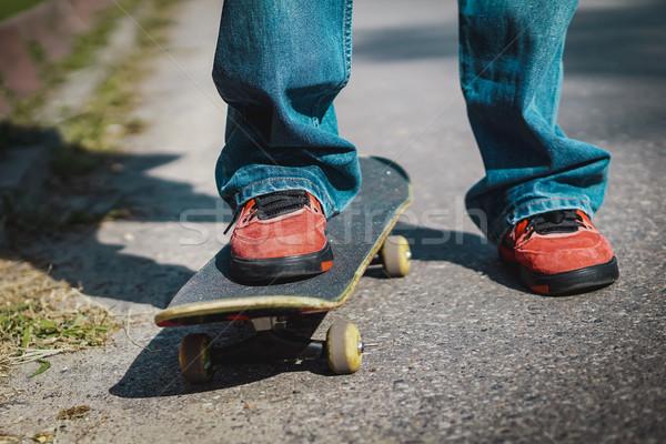 Erkek ayakta kaykay sokak yol spor Stok fotoğraf © superelaks