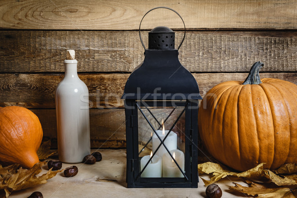 Fener kabak ahşap masa halloween eski ışık Stok fotoğraf © superelaks