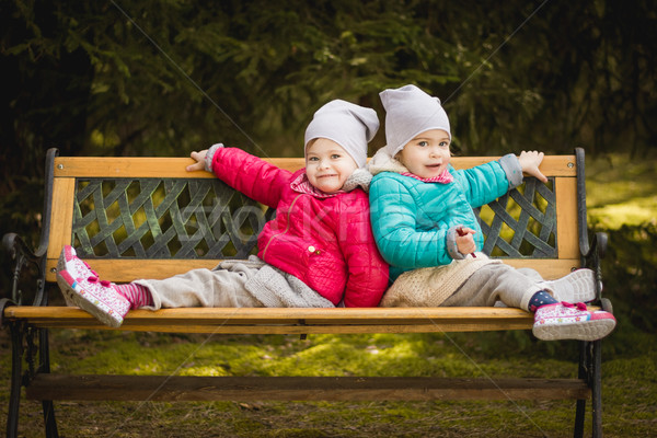 twins are sitting back to back on the bench Stock photo © superelaks