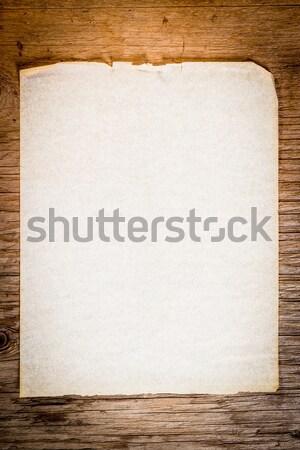 Eski kağıt eski tablo boş kağıt ahşap masa soyut Stok fotoğraf © superelaks