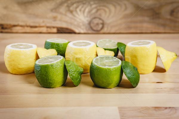 Limon kireç tablo kıyılmış taze ahşap masa Stok fotoğraf © superelaks