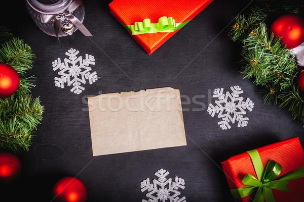 Noel hediyeler mektup siyah tablo kar Stok fotoğraf © superelaks
