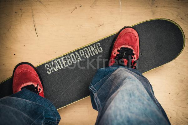 Kaykay paten park ayakkabı tahta Stok fotoğraf © superelaks