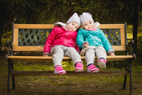 two girls on a bench in the woods Stock photo © superelaks