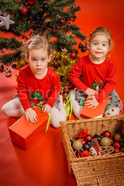 Kislányok ajándékok kettő piros dobozok fa Stock fotó © superelaks