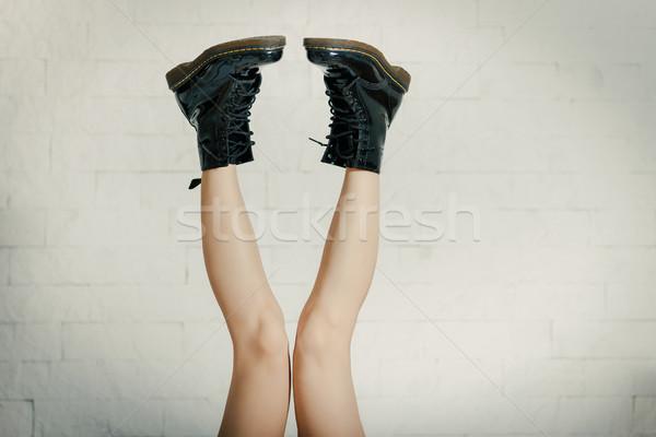 Güzel kadın bacaklar siyah bot kız Stok fotoğraf © superelaks