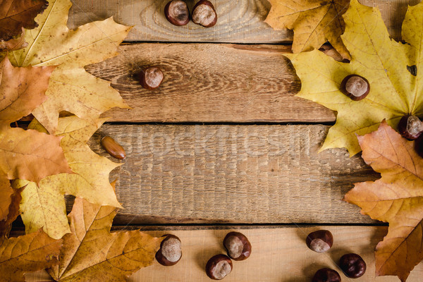 autumn leaves and chestnuts on table Stock photo © superelaks