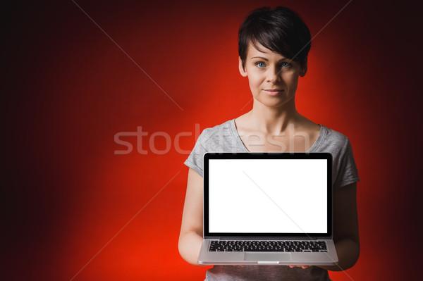 Güzel bir kadın bilgisayar kırmızı iş kadın Stok fotoğraf © superelaks