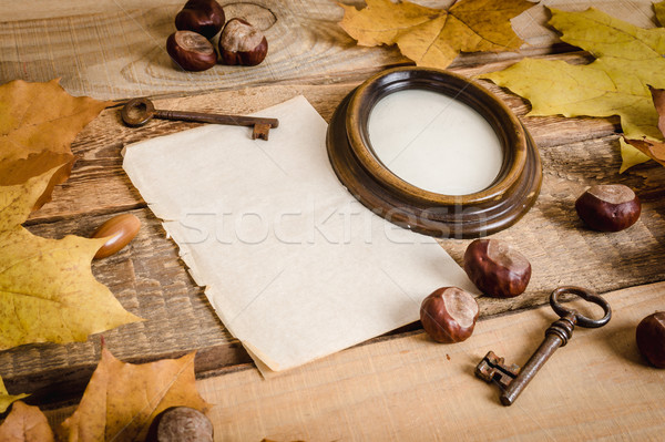 Stock photo: frame, paper and autumn leaves