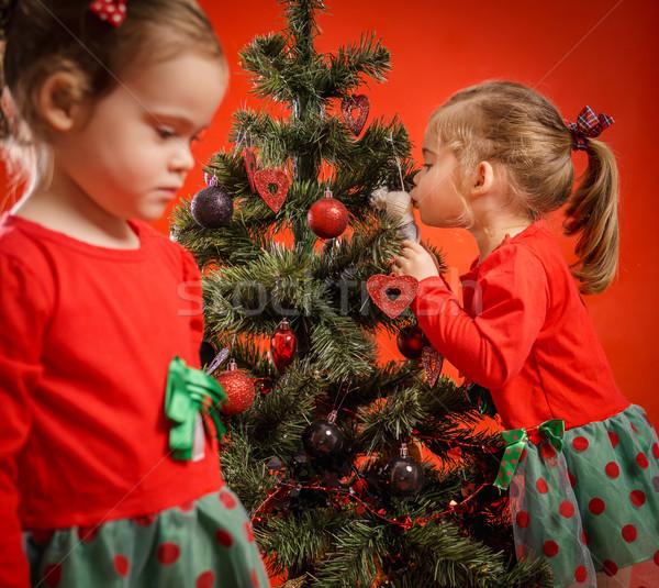 Noel ağacı iki kızlar güzel Stok fotoğraf © superelaks
