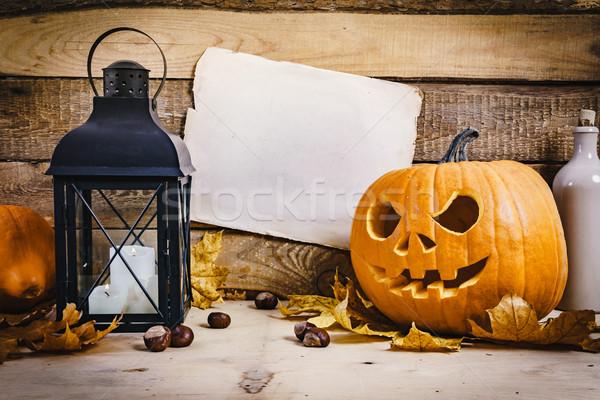 Cadılar bayramı kabak fener kâğıt halloween kabak eski Stok fotoğraf © superelaks