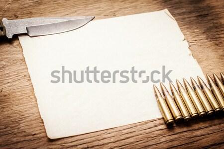 üres papír kés lövedékek öreg fa asztal textúra Stock fotó © superelaks