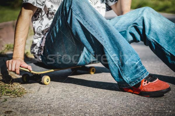 Oturma kaykay sokak yol spor Stok fotoğraf © superelaks